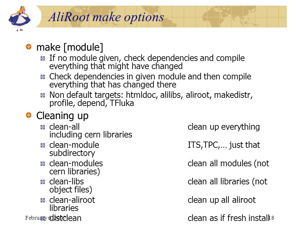 AliRoot make options make [module] Cleaning up